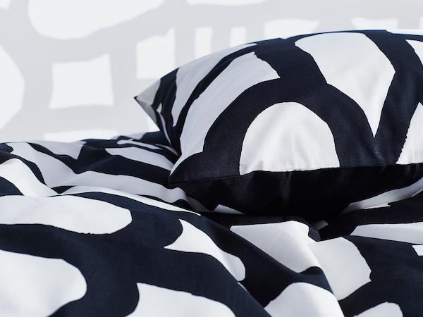 SKUGGBRÄCKA Quilt cover and pillowcase, white/black, 150x200/50x80 cm