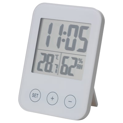 SLÅTTIS Clock with hygro-/thermometer, white