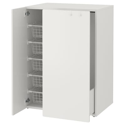SMÅSTAD Wardrobe with pull-out unit, white, 80x55x108 cm
