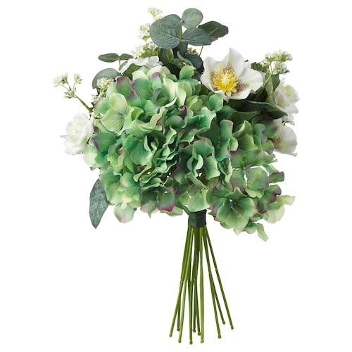 SMYCKA Artificial bouquet, white, 35 cm