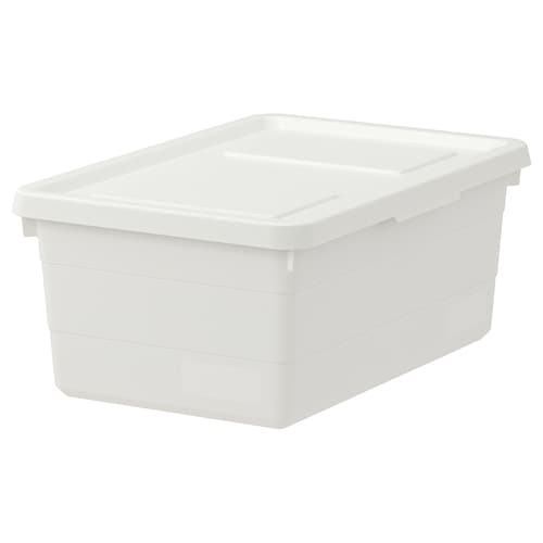 SOCKERBIT Box with lid, white, 38x25x15 cm