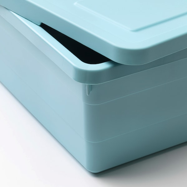 SOCKERBIT storage box with lid light blue 38 cm 25 cm 15 cm