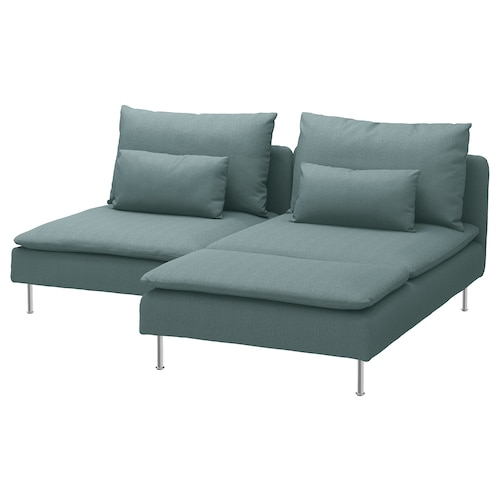 SÖDERHAMN 2-seat sofa, with chaise longue/Finnsta turquoise