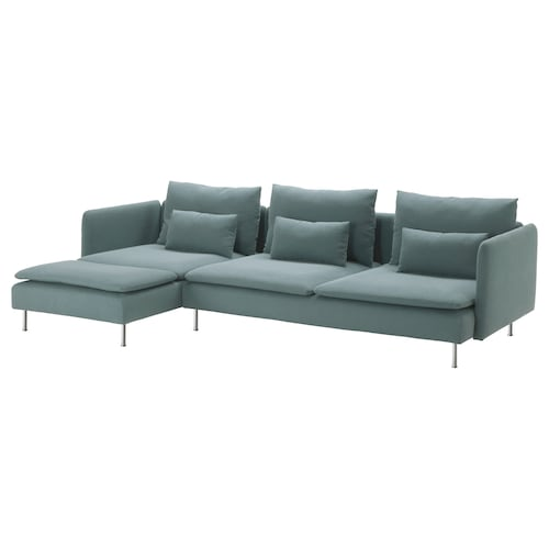 SÖDERHAMN 4-seat sofa with chaise longue, Finnsta turquoise