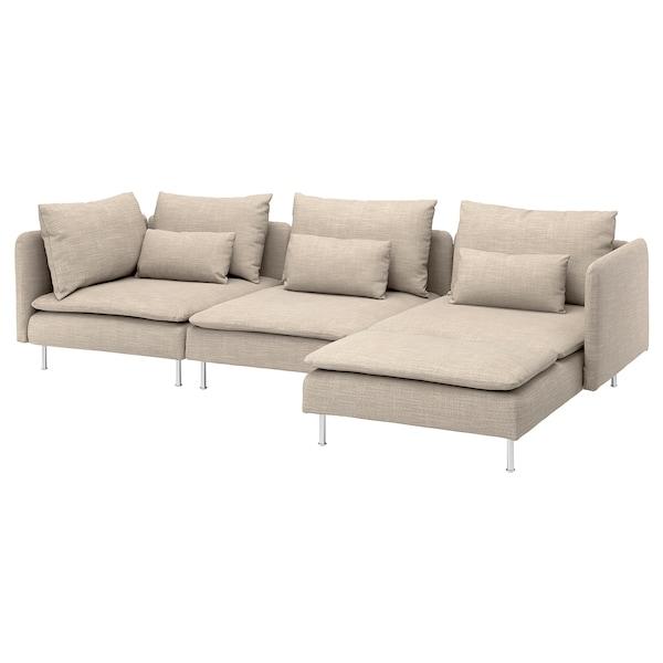 SÖDERHAMN 4-seat sofa with chaise longue/Hillared beige 83 cm 69 cm 151 cm 291 cm 99 cm 122 cm 14 cm 70 cm 39 cm