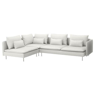 SÖDERHAMN Corner sofa, 4-seat, with open end/Finnsta white