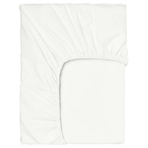 SÖMNTUTA Fitted sheet for mattress pad, white, 150x200 cm