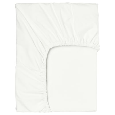 SÖMNTUTA Fitted sheet for mattress pad, white, 90x200 cm