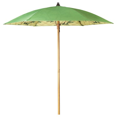 SOLBLEKT Parasol, palm pattern green, 185 cm