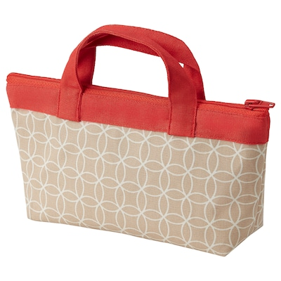 SOLGLIMTAR Accessory bag, red/brown, 22x5x11 cm