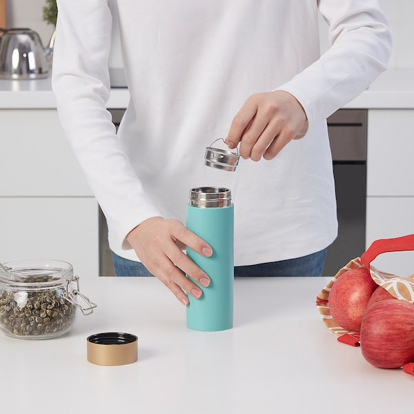 SOLGLIMTAR Steel vacuum flask, turquoise/gold-colour, 0.3 l