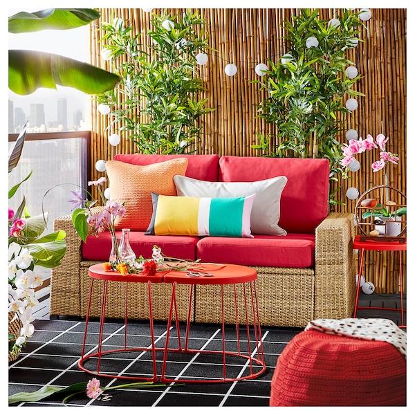 SOLLERÖN 2-seat modular sofa, outdoor brown/Frösön/Duvholmen red 161 cm 82 cm 88 cm 125 cm 48 cm 44 cm