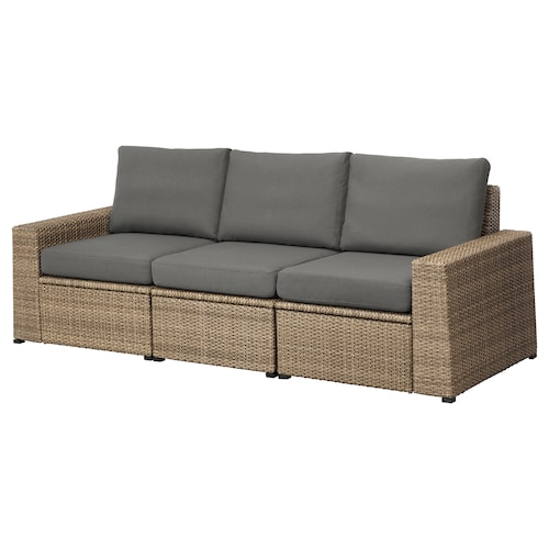 SOLLERÖN 3-seat modular sofa, outdoor, brown/Frösön/Duvholmen dark grey, 223x82x88 cm