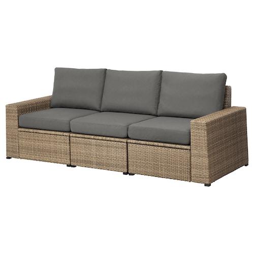 SOLLERÖN 3-seat modular sofa, outdoor brown/Frösön/Duvholmen dark grey 223 cm 82 cm 88 cm 187 cm 48 cm 44 cm