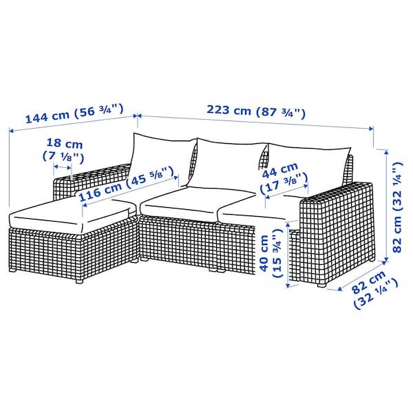 SOLLERÖN 3-seat modular sofa, outdoor with footstool dark grey/Hållö black 223 cm 145 cm 82 cm 187 cm 54 cm 40 cm