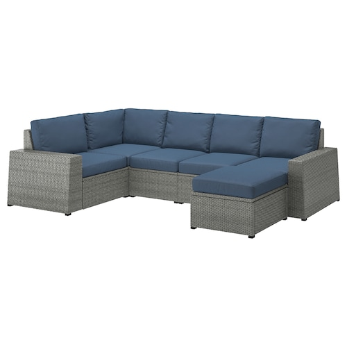 SOLLERÖN Modular corner sofa 4-seat, outdoor, with footstool dark grey/Frösön/Duvholmen blue