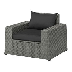 SOLLERÖN armchair, outdoor, dark grey, Hållö black