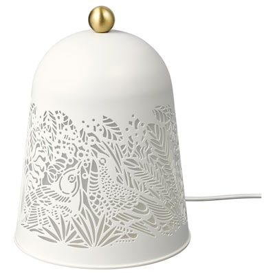 SOLSKUR LED table lamp, white/brass-colour