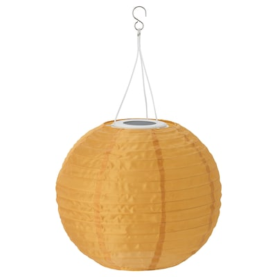 SOLVINDEN LED solar-powered pendant lamp, outdoor/globe gold-colour, 30 cm