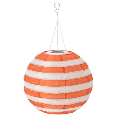 SOLVINDEN LED solar-powered pendant lamp, outdoor globe/striped multicolour, 30 cm
