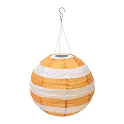 SOLVINDEN LED solar-powered pendant lamp, outdoor globe, striped yellow