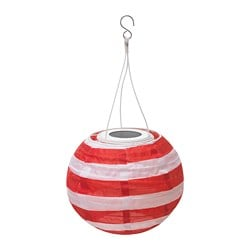SOLVINDEN LED solar-powered pendant lamp, outdoor globe, striped red