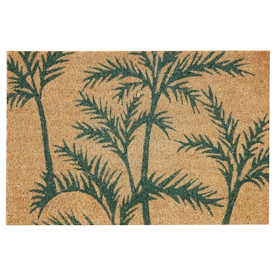 SOMMAR 2020 Door mat, indoor, green palm/natural, 40x60 cm