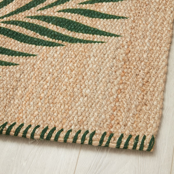 SOMMAR 2020 Rug, flatwoven, green leaves/natural, 80x150 cm