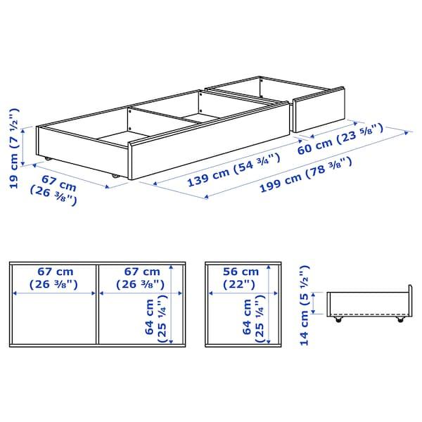 SONGESAND bed storage box, set of 2 white 14 cm 14 cm 64 cm 64 cm 67 cm 56 cm 199 cm 67 cm 23 cm 200 cm