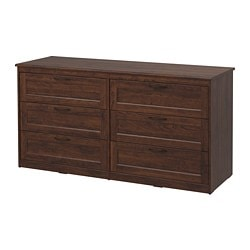 SONGESAND chest of 6 drawers, brown