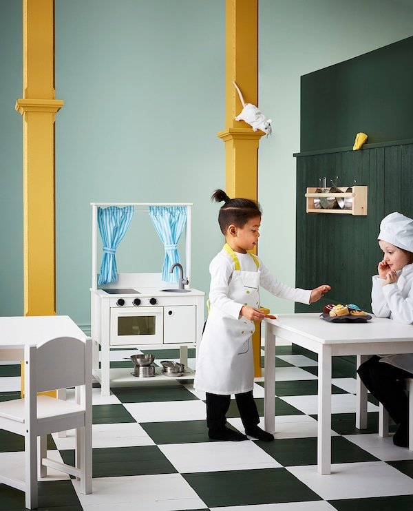 SPISIG Play kitchen with curtains, 55x37x98 cm