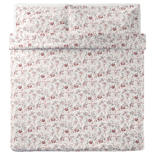 SPRÄNGÖRT quilt cover and 2 pillowcases white/pink 250 /inch² 2 pack 220 cm 240 cm 50 cm 80 cm