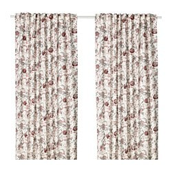 SPRÄNGÖRT room darkening curtains, 1 pair, white, pink