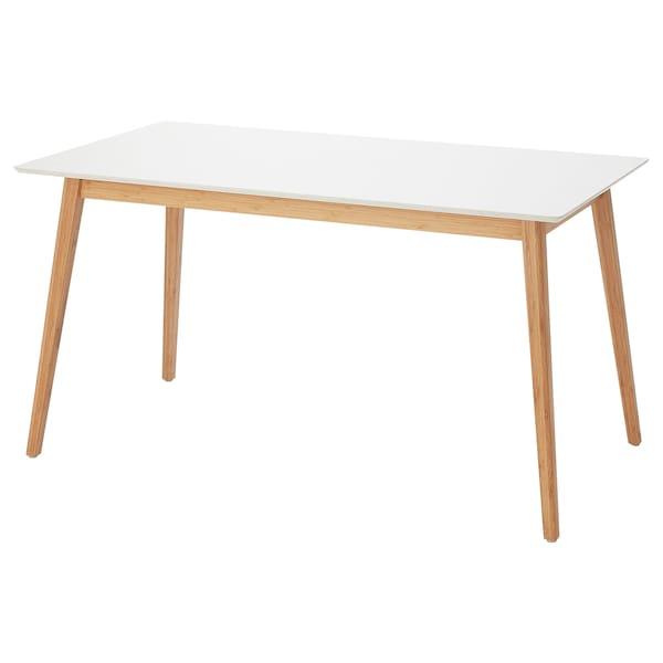 STENARED Dining table, stone effect quartz/bamboo, 140x75 cm