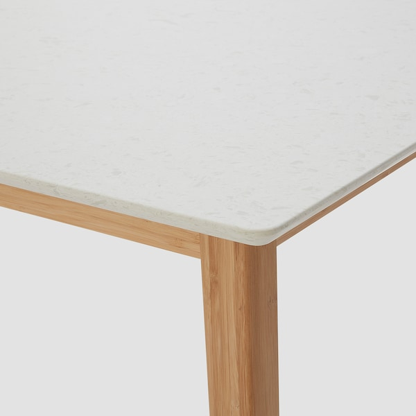 STENARED dining table stone effect quartz/bamboo 140 cm 75 cm 74 cm
