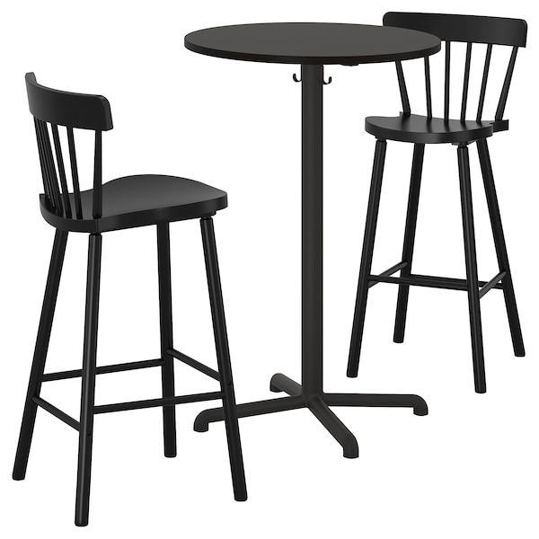 STENSELE / NORRARYD bar table and 2 bar stools anthracite anthracite/black