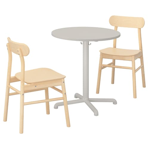 STENSELE / RÖNNINGE table and 2 chairs light grey/light grey birch 70 cm