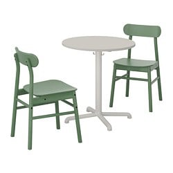 STENSELE /  RÖNNINGE table and 2 chairs, light grey, light grey green