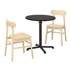 STENSELE /  RÖNNINGE table and 2 chairs, anthracite, anthracite birch