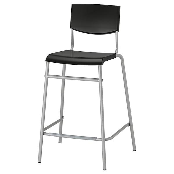 STIG bar stool with backrest black/silver-colour 100 kg 54 cm 44 cm 90 cm 36 cm 34 cm 63 cm