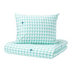 STILLSAMT quilt cover and pillowcase, light turquoise
