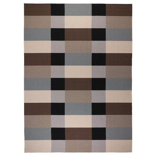 STOCKHOLM rug, flatwoven handmade/chequered brown 350 cm 250 cm 6 mm 8.75 m² 1985 g/m²