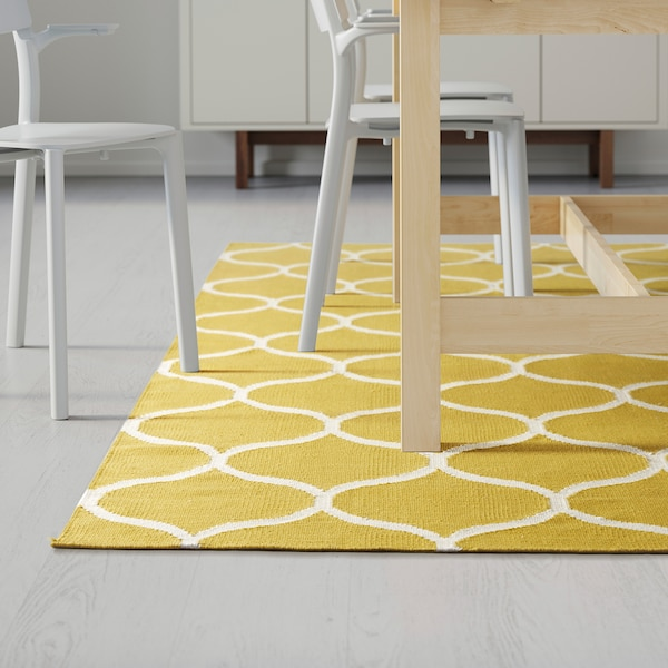 STOCKHOLM rug, flatwoven handmade/net pattern yellow 240 cm 170 cm 4 mm 4.08 m² 1350 g/m²