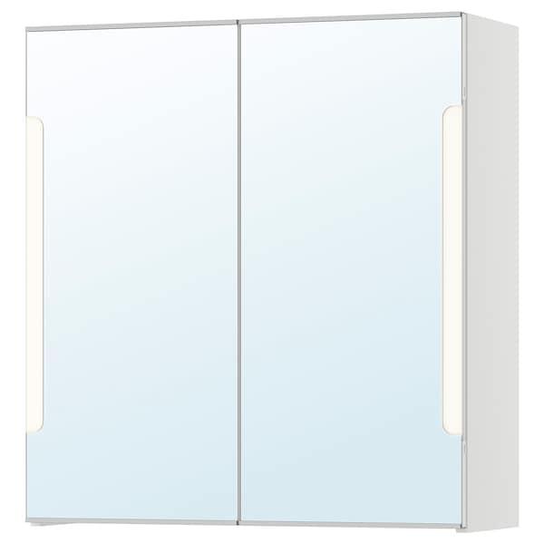 STORJORM Mirror cab 2 door/built-in lighting, white, 60x21x64 cm
