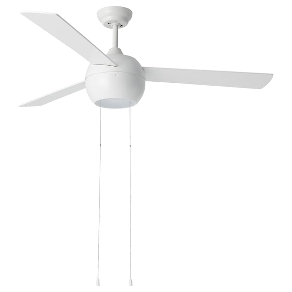 STORMVIND 3-blade ceiling fan with lighting, plastic white