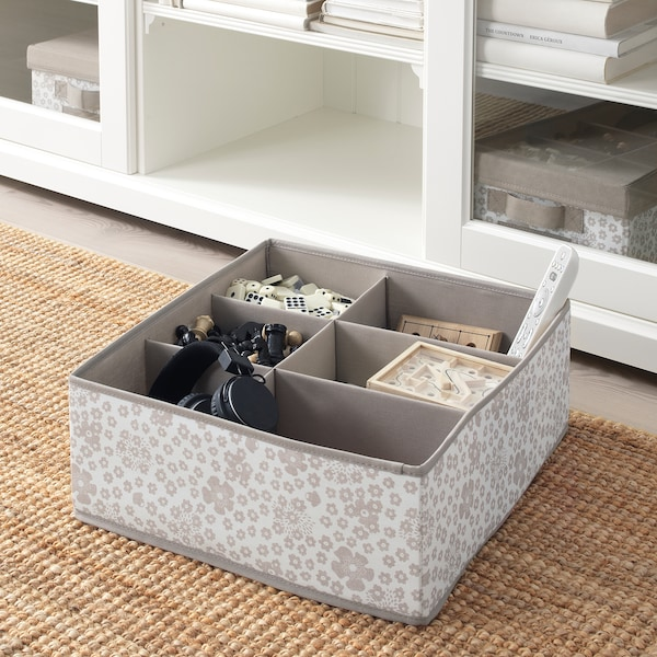 STORSTABBE box with compartments beige 37 cm 40 cm 15 cm