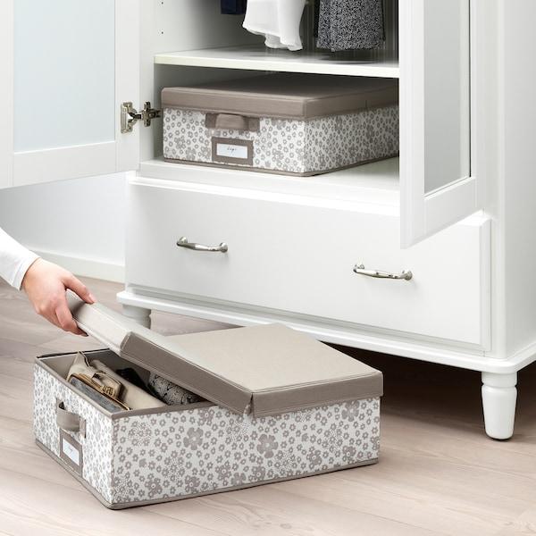STORSTABBE box with lid beige 35 cm 50 cm 15 cm