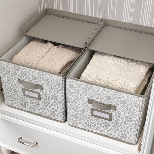 STORSTABBE box with lid beige 35 cm 50 cm 30 cm
