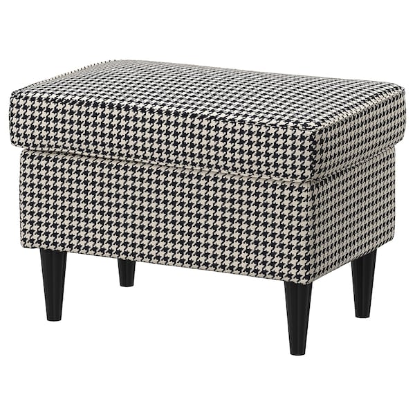 STRANDMON Footstool, Vibberbo black/beige