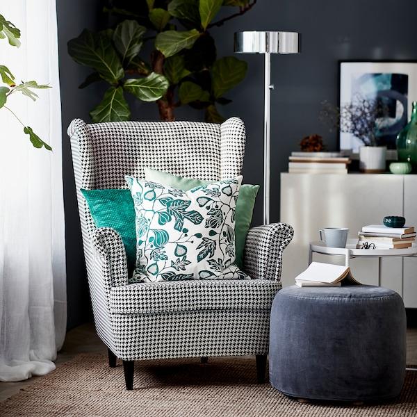 STRANDMON wing chair Vibberbo black/beige 82 cm 96 cm 101 cm 49 cm 54 cm 45 cm
